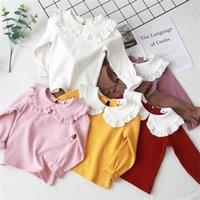 공주 봄 가을 새로운 여자 셔츠 아이의 티셔츠 옷깃 레이스 캐주얼 패션 화이트 인형 칼라 셔츠 어린이 의류 839 Y2