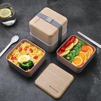 Health Lunch Box Высокая емкость Двойной слой с столовыми приборами Пищевая контейнер на открытом воздухе офисная школа портативный Bento Box набор 1400мл