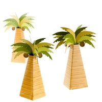 Gift Wrap 24pcs Palm Tree Candy Box Coconut Wrapper Wedding Party Favor Baby Shower Birthday Bag Wrapping Supplie