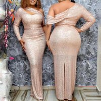 Casual Dresses Autumn2021 African Women's Dress Shiny Sequin Pink High Waist Split One Shoulder Sexy Tight Fashion Night Club Long Party