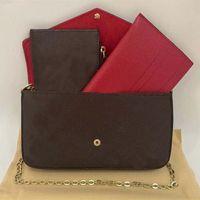 Pagwomen's Clutch Felicie Pochette مع صندوق مذهل حقيبة يد نسائية المحافظ نمط متعدد الوظائف withmessenger mendesignersdesi