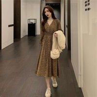 2021korean Gevşek Şifon Çiçek Kadın Büyük 2021 Bahar Yeni Işık Olgun Moda Fransız Pileli Elbise