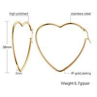 QWC TBB70 Arrivo moda gioielli regalo di compleanno regalo oro con pietra grande a forma di cuore semplice in acciaio in titanio donna orecchino 210312