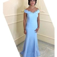 2020 New Arabic sky blue off shoulder Evening Dresses Mermaid Lace Satin Trumpet Women Formal Prom Gowns Mother Of Bride Dress
