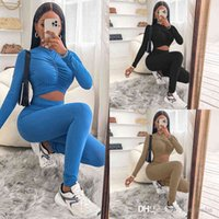 Autumn Winter Womens Jumpsuits Designer Pleated Hollow Out Exposed Navel Solid Colour Long Sleeve One Piece Pants Fashion Bodysuit