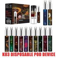 100% Authentic K03 Disposable Pod Device Kit 1500puff 850mah battery Prefilled Vape Pen Stick Bar Starter Kit With RGB Light DHL shipping