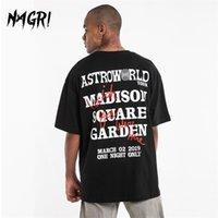 Nagri Übergröße Männer T-shirt Hip-Hop Travis Scotts Astroworld Brief Drucken Kurzarm Lustige Punk Mode Lose T-Shirts Baumwolle 210707