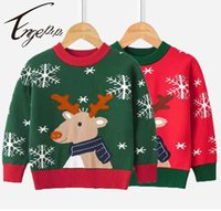Pullover Engepapa Christmas 2021 Baby Boy Girl Snowflake Deer Sweater Winter Cartoon Warm Knitted Clothes Children's Clothing