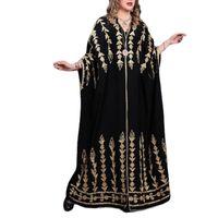 Casual Dresses Spring Summer Middle East Women Robe V-Neck Full Sleeve Abayas Print Elegant Retro Dinner Party Evening Loose Long