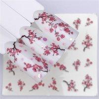 Erik çiçeği 1 Sac Su Transferi Tırnak Sticker Çıkartmaları Meyve Krem Kek Kedi Güzellik Dekorasyon Tasarımları DIY Renk Dövme İpucu
