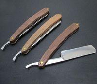 2021 hombres afeitando la afeita recta de la asa de madera natural de la asa de la madera de la haya de acero al carbono manual manual de barbero de barbero para peluquería a medida que acepte