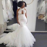 Other Wedding Dresses Simple High Neck Mermaid Sexy Appliques Lace Beach Bridal Dress Up Back African Vestidos De Novia