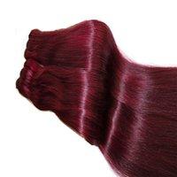 Doble Dibujado Funmi Pelo Coloreado Humano Extensiones Human Cabello Indio Brasileño Virgin Human Hair Weaves Color Borgoña 10-26 pulgadas