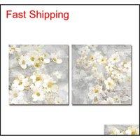 Pintura al óleo DYC 10059 2 UNIDS Flores blancas Impresión de arte listo para colgar pinturas FJKNK J305U