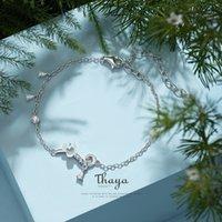 Thaya S925 Silver Coquille naturelle Fleur Bracelet mince chaîne à la main pour femmes Bracelet en argent Bracelet de luxe Bijoux fine Cadeau Dropship 210315