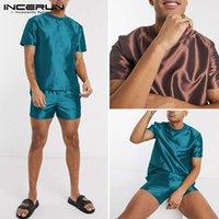 Erkek Rahat Rahat İki Parçalı Pijama Erkekler Pijama Setleri Gevşek Kısa Kollu Katı Renk Tops 2021 Yaz İpek Saten S-5XL