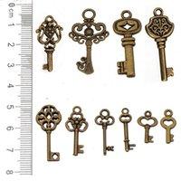 Charms Mixed Antico Bronzo Keys Keys Love Open Metal Vintage FAI DA TE Abbigliamento Gioielli Accessori per gioielli Braccialetti Collane che fanno 200 pezzi