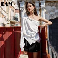 [EAM] Frauen White Button Unregelmäßige Spaltbluse Neue Skew Kragen Langarm Lose Fit Hemd Mode Frühling Sommer 2021 1U698