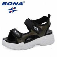 Bona 2020 Новый стиль летних женщин сандалии платформы клинья сандалии кожаные качели Peep Toe повседневные туфли женщин гулять обувь модный H9CF #