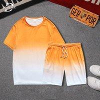 Summer Men Set Short Sleeve Gradient Casual Tracksuit Mens Sportswear 2 Pieces Shorts Sets Male Jogging Sports Suit Clothing