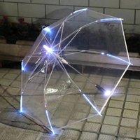 YIWUMART LED licht transparent unbrell für Umweltgeschenk glänzende glühende Sonnenschirme Party Activity Langer Griff Regenschirm Y200324 70 S2