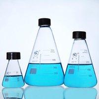 50 ملليلتر 100 ملليلتر 250 ملليلتر 500 ملليلتر 1000 ملليلتر مختبر الأواني الزجاج بيركس الزجاج مخروطية erlenmeyer قارورة زجاجة عينة مع غطاء المسمار سدادة