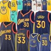 30 Stephen # Curry Jersey 2021 Yeni 33 Wiseman Jersey Erkek Gençlik Çocuklar Köri Basketbol Formaları Şehir Mavi Beyaz Yeşil