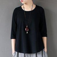 Johnature Kadınlar Pamuk T-Shirt Siyah Beyaz Yaz Yeni Yarım Kollu O-Boyun Bir Boyutu Rahat Örme Moda Tops 210224