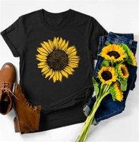 Frauen T-Shirt T-shirt Frauen Sonnenblume Druckgrafik T-Stück Kawaii Weibliche Kleidung Frühling Ästhetische Streetwear Mädchen Nette Tops Blumenhemden Teenie
