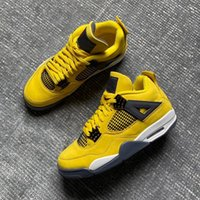 US7-13 Com caixa de meia Lightning jumpman 4 homens tênis de basquete moda Tour Amarelo Branco Azul Escuro Cinza 4s tênis masculino tênis esportivo