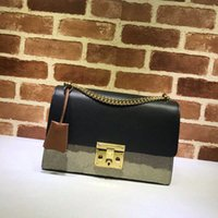 Style padlock large leather one shoulder shoes diagonal lock chain bag black handbag Zlh
