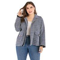 Doib 여성 격자 무늬 플러스 사이즈 재킷이 칼라 지퍼 포켓 패션 코트 2021 가을 겨울 대형 자켓