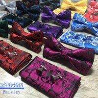 Новый дизайн Галстук самоуправления и запонки Hanky Set Silk Jacquard тканые мужчины бабочка бабочка карманный квадрат платок костюм свадьба 200 кварталов