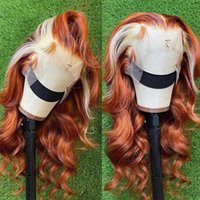 Ishow Brazilian Body Wave 4x4 Transparent Swiss Lace Closure Human Hair Wigs Orange Ginger Blonde 613 Color Remy Lace Front Wig For Women Girls All Ages 8-28inch
