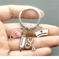 Nouveau design Keychain Docteur Outil médical Stéthoscope Système de seringue Masque Key Ring Infirmière Medical Student Cadeau Keychain QYLAMG