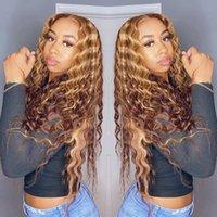 Perucas de cabelo humano do laço encaracolado para as mulheres coloridas Brazilian Honey Loira Destaque HD Água profunda transparente WIG frontal