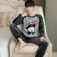 Men's Sleepwear Winter Warm Pajamas For Men Stripe Pajama Sets Flannel Thick Pyjamas Suit Man Long Sleeve Casual Fleece 2 Pieces