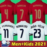 Camisa de futebol 2021 de Portugal Camisa de futebol 2022 Portugal homens e crianças qualidade máxima RONALDO BERNARDO BRUNO FERNANDES SEMEDO BERNARDO