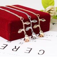 Kolye kolye tshou424 tarzı retro çiçek dalı gül kolye kadın bale metal