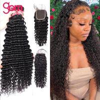 Human Hair Bulks Deep Wave Bundle With Closure 4   3 30 Inch Brazilian Weave Wet And Wavy