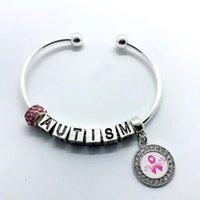 Encanto pulseras moda metal letra autismo rosa cinta superviviente colgante gran agujero cuentas abertura brazalete