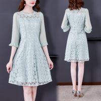 Lace Chiffon Dress for Women Three Quarter Sleeve Summer Auutmn Dress Fashion Elegant Ladies Dresses Office Dresses