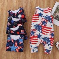 아이 소년 소녀 romper 스타 jumpsuit 복장 국립 미국 국기 여름 민소매 옷 2021
