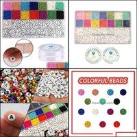 Bangle Bracelets Jewelrybangle 5000Pcs Mticolor English Letter Acrylic Beads Square Flat Alphabet Charms Bracelet Necklace For Jewelry Makin