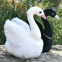 Princess Crown Black Swan Plush Toy Peal Necklace White Swans Couple Queen Plushie Wedding Decor Dolls for Present 28cm LA298