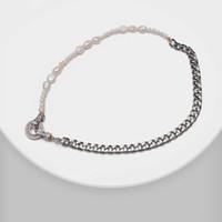 Amorita Boutique Mode Natürliche Perlenkette Nähte Design Metall Halskette