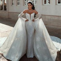 Designer Long Sleeve Mermaid Wedding Dresses With Detachable Train Beaded Crystals Lace Sequined Bridal Gowns Robe de mariée
