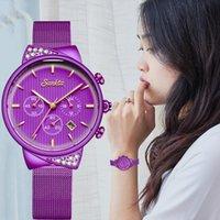 Наручные часы 2021 Бренд Горный Хрусталь Женщины Часы Мода Элегантная Нержавеющая Сталь Фиолетовые Дамы Наручные Часы Люкс Санктта