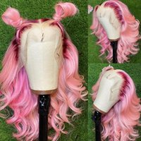 Lace Wigs Ombre Front Wig Body Wave Full Colored Human Hair Brazilian Virgin Pink Pre Plucked HD Wig200%