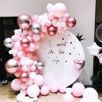 101pcs / 세트 파스텔 로즈 골드 핑크 풍선 화환 아치 키트 기념일 생일 파티 장식 풍선 성인 아기 샤워 소녀 339 S2